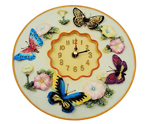 "Butterfly Clock, 8"" Round, 3D Polystone - Butterflies Wall Decor ,"