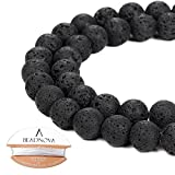 what is beadboard BEADNOVA 10mm Natural Black Lava Rock Stone Gemstone Round Loose Volcanic Beads with Free Crystal Stretch Cord For Jewelry Making (32-34pcs)