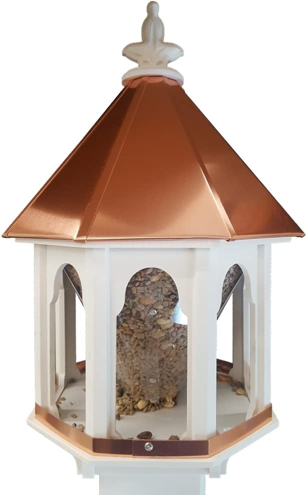 NC Birdguy Wild Bird Feeder Solid Cellular PVC Clear Copper Roof (F8C) Made in The USA