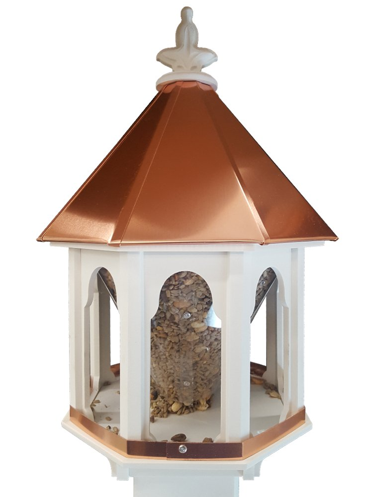 Wild Bird Feeder Solid Cellular PVC Clear Copper Roof (F8C) Made In the USA