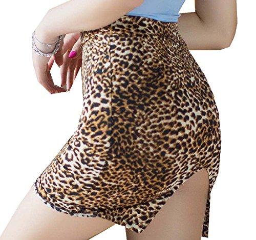 BgBisnlz Womens Sexy See-through Split Back Bodycon Fit Mini Skirt Leopard -
