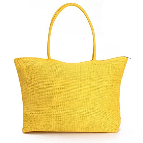 Straw Amuele Shopping Handbag Purse DARK Woven Bag Beach Tote Weave YELLOW Shoulder d1w1xFU