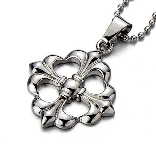 Four-leaf Clover Fleur-de-lis Love Hearts Celtic Cross Pendant Necklace Steel 23.4 Inches Chain