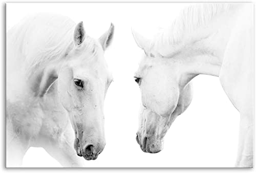 KALAWA Modern Home and Office Decoration Large Two Running White Horse Canvas Wall Art Wild Animal Picture Print on Canva