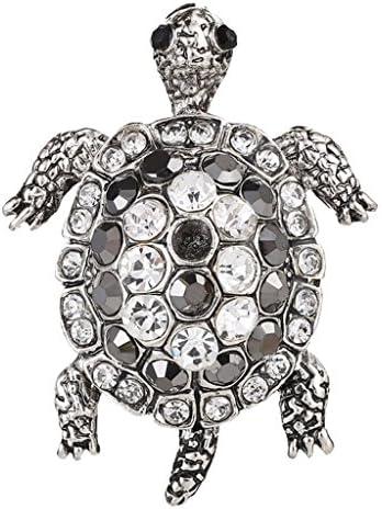 水晶 亀のブローチ キラキラ ファッション アクセサリー 1個