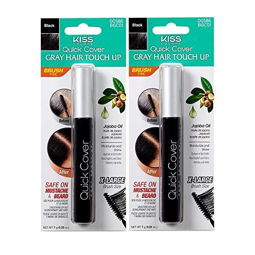 Kiss Colors Quick Cover Gray Hair Touch Up Brush Black BGC01 (2pcs)