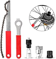 Odoland Bike Repair Tool Kit, Including Bike Crank Extractor with 16mm Spanner/Wrench, Bicycle Flywheel Chain