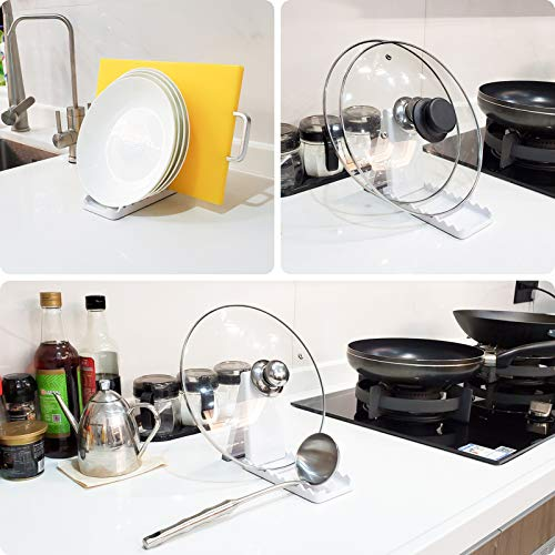 Foldable Lid and Spoon Rest, Kitchen spatula and lid storage rack with drip pad, Resistant, BPA-Free Spoon Rest - Kitchen Utensil Holder for Pot Lids, Spoons, Ladle, Tongs, Etc.