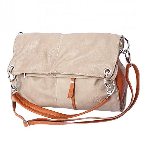 Umhängetasche Hobo Schultertasche Abendtasche in einem Damen Handtasche Crossover tragen Leder braun DrachenLeder Made in Italy OTF102C