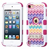 Wydan Compatible Case for iPod Touch 5th 6th Generation Gen 5 - TUFF Kickstand Impact Hybrid Hard Gel Shockproof Case Cover for iPod Touch 5th Generation Gen 5 - Pink Chevron for Apple