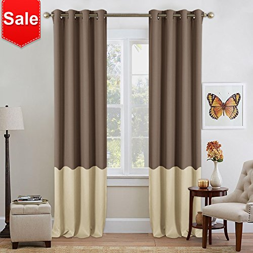 NICETOWN 2 Tones Blackout Draperies Curtains - Home Fashion Color BlockThermal Insulated Grommet Color Block Blackout Drapes for Sliding Door (2 Pieces,52