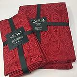 Lauren Ralph Lauren Red Paisley Tablecloth 70 x 120 Oblong + Set 4 Napkins Bundle