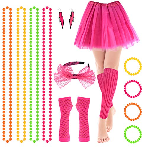 FEPITO 16Pcs Women's 80s Outfit Costume Accessories Set Lace Headband Earrings Fishnet Gloves Leg Warmers Necklace Bracelet Adult Tutu Skirt(Rose red) -