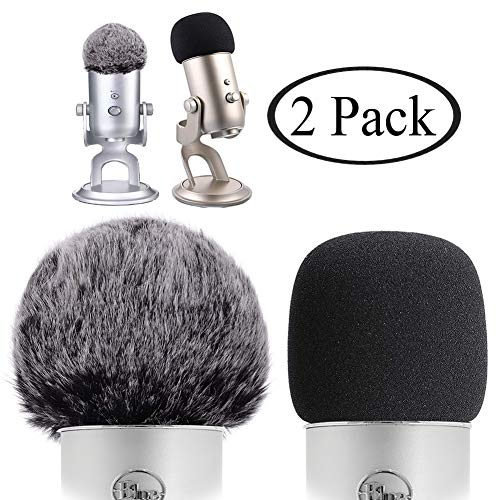 Professional Microphone Furry Windscreen Muff and Foam Windscreen for Blue Yeti