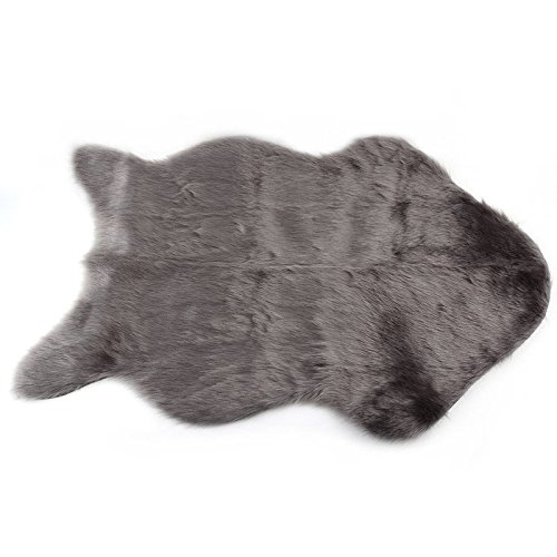 XENO-Super Soft Faux Sheepskin Chair Cover Warm Hairy Carpet Seat Pad Fluffy Rugs LX(grey)