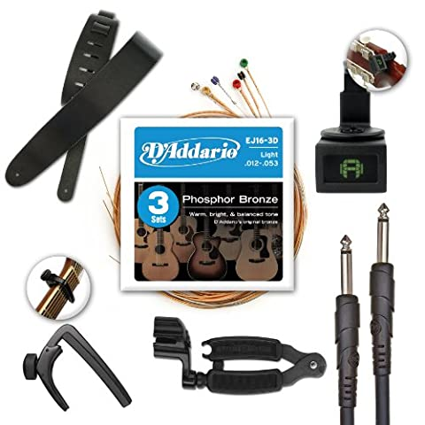 D'Addario and Planet Waves Acoustic Guitar Accessories, Pro Pack (Guitar Strings Diadario)