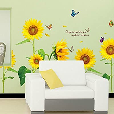 Mf@sunshine Bellasam Blossom Sunflower Dancing Butterfly in Summer Beautiful Removable Wall Stickers DIY Kid's Child Room Decor Decal (sunflower-1PCS): Baby
