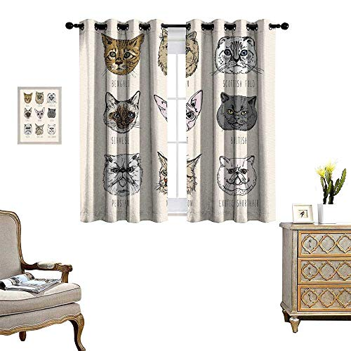 Tan Fabric Taupe Trim Panels - homehot Indie Waterproof Window Curtain Set of Different Breeds Cat Portraits Doodle Style Cute Funny Animals Kittens Blackout Draperies for Bedroom Tan Beige Taupe