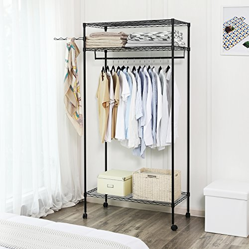 SONGMICS Heavy Duty Garment Rack with Wheels, 2 Shelves Black ULGR45P