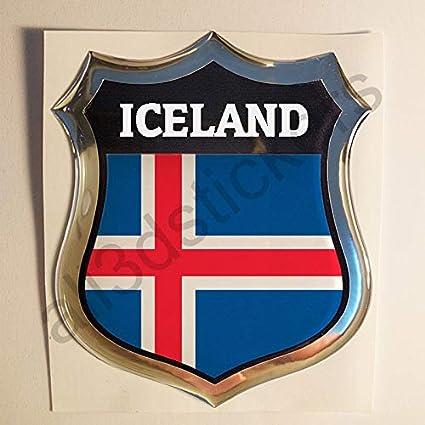 All3dstickers Pegatina Islandia Relieve 3D Escudo Bandera Islandia Resina Adhesivo Vinilo: Amazon.es: Coche y moto