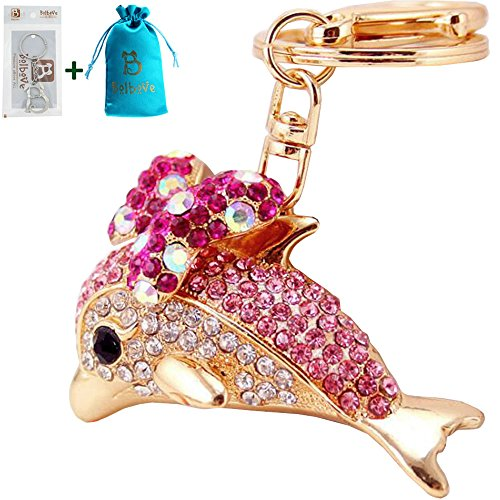 (Bolbove Cute Bowtie Dolphin Keychain Crystal Sparkling Keyring Rhinestones Purse Pendant Handbag Charm (Pink))