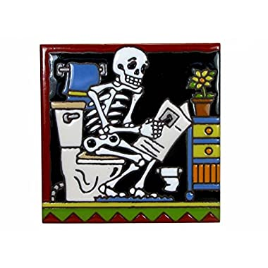 6  x 6  Ceramic Tile DAY OF DEAD TOILET