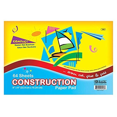 "3Pk, BAZIC 64 Ct. 6"" X 9"" Mini Construction Paper Pad (Total of 192 Sheets)"