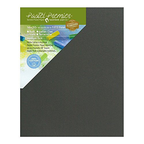 Pastel Premier Sanded Pastel Paper Eco Panel, Medium Grit, 16X20 inches, Slate, 1 Panel by Handbook Paper