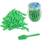 """100pcs Pana Cosmetic Make Up Disposable Plastic 2.5"""" Spatulas Skin Care Facial Cream Mask Spatula (100 Pieces in a Container) (APPLE GREEN)"""