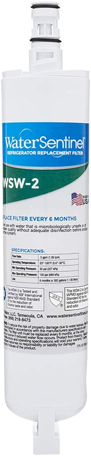 WaterSentinel WSW-2 Refrigerator Replacement Filter Fits Whirlpool Filter 5, Kitchenaid, Thermador, Kenmore, Maytag, Puriclean