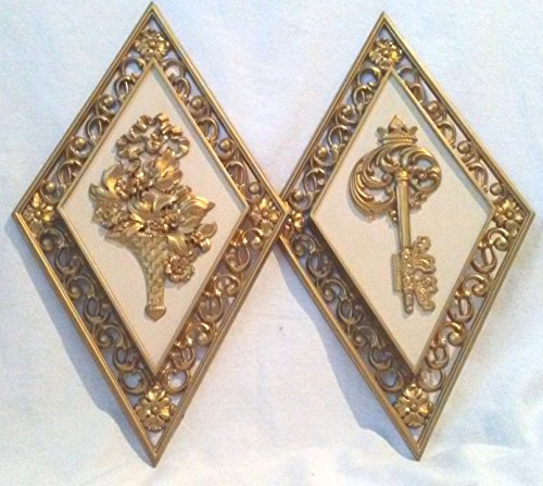 - Set of 2 Retro Wall Hangings, Syroco Burwood Homco Style Style Wallhangings, Retro Key and Bouquet Wallhangings