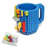 Build-On Brick Mug DIY Coffee Cup Creative Building Blocks for Coffee Tea Beverage Drinking Funny Gift Toy (Blue)