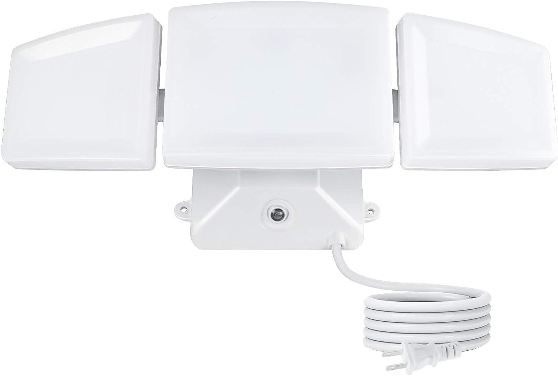 FAGUANGAO Dusk to Dawn LED Security Light,35W Photo Sensor Flood Light,5000k Daylight,3200lm, IP65 Waterproof,Adjustable 3 Heads Wall Light for Eave,Garage, Porch, Yard, White