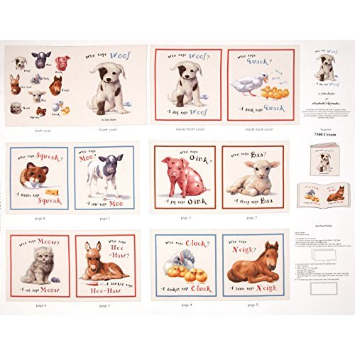 Elizabeth Studios Animal Friends Soft Book Panel Cream Fabric Cotton Fabric Book Panel