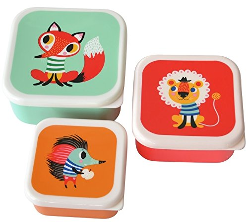 Helen Dardik Set of 3 Nesting Colorful Little Animals Lunch Box Containers with Lids