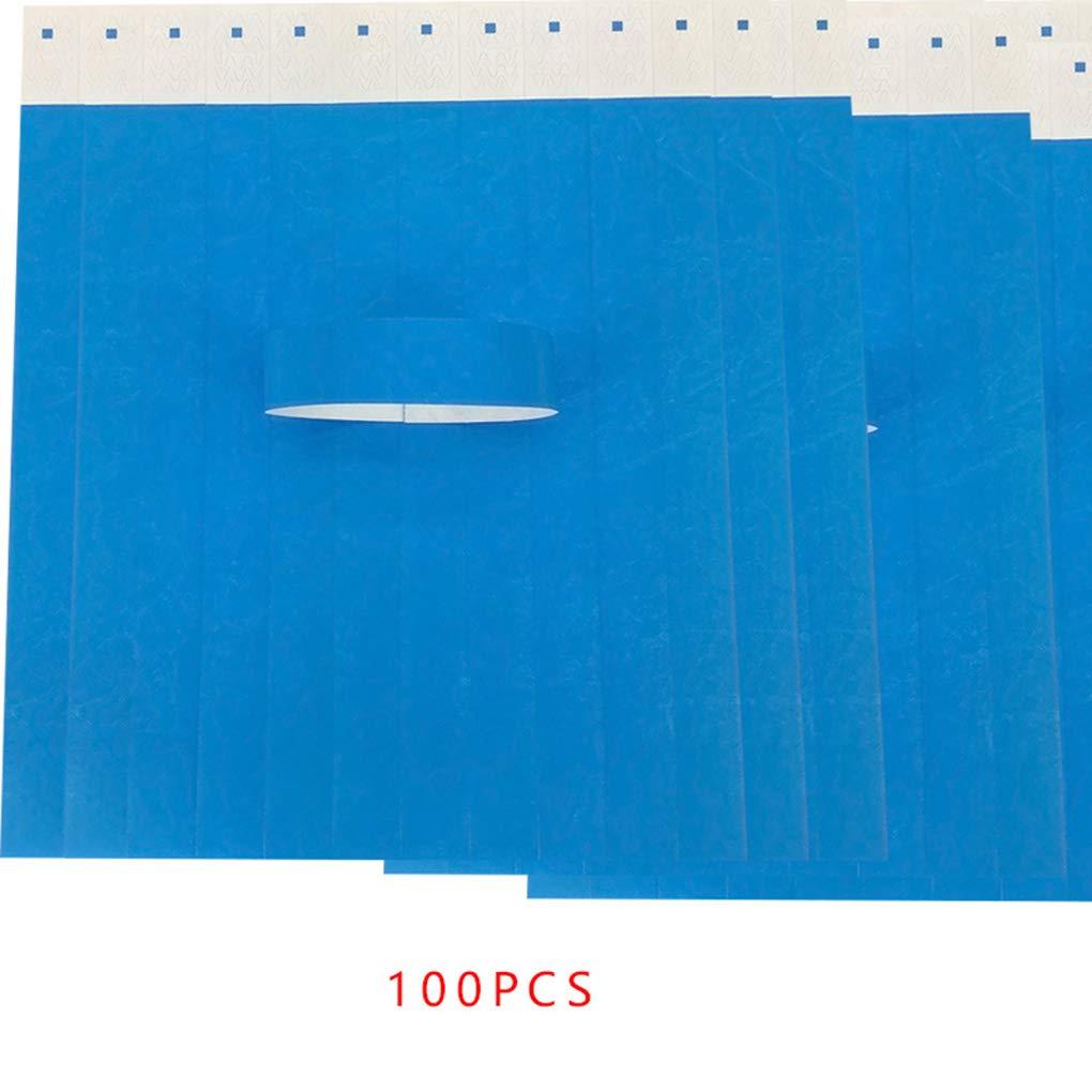 MUANI 100Pcs / Set Impermeabili Eventi monouso Braccialetti Blu Tessuto Non Tessuto di Carta Braccialetti Parco divertimenti Biglietto d'ingresso