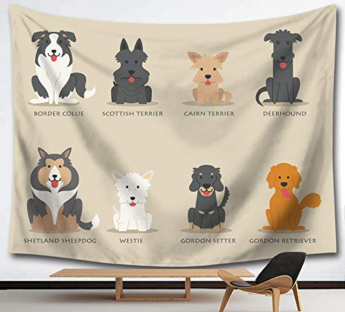 HMWR Scottish Dogs Tapestry Wall Hanging Cartoon Dog Science Cotton Mandala Hippie Tapestry Deerhound Westie Collage Dorm Beach Throw Wall Decor 60x80 Inches