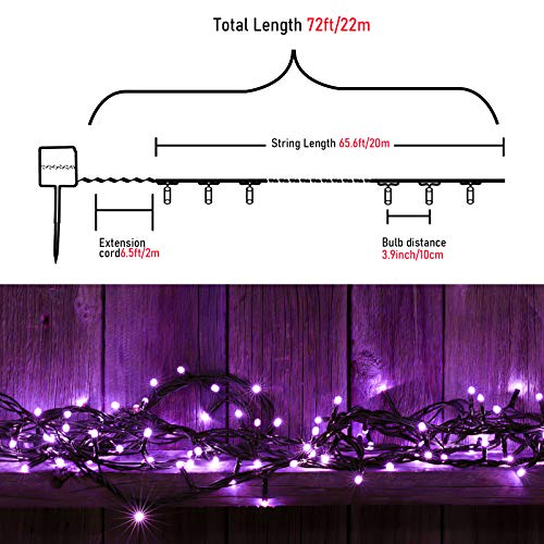 Solar Halloween String Lights Outdoor - 72FT 200LED Solar Powered Purple String Lights Waterproof 8 Modes for Halloween, Christmas Tree, Party, Patio, Garden, Fence, Yard, Festival, Holiday Decoration