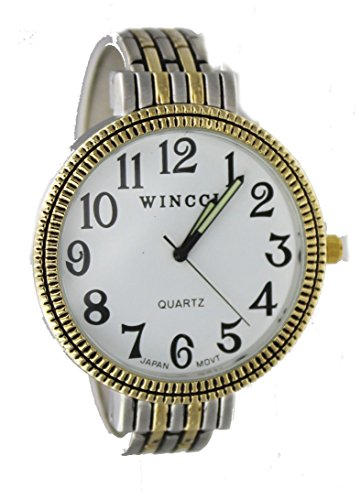 - Women's Easy Read Two Tone Bangle cuff Watch-Large Dial