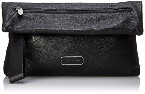 Marc By Marc Jacobs Leather Clutch (Marc by Marc Jacobs Shape Shifter Soft Square Clutch, Black, One Size)