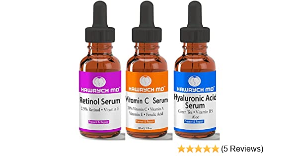 c242bd579ea Amazon.com: HAWRYCH MD Vitamin C Retinol Hyaluronic Acid Serum Set The Best  Anti Aging Serums Diminish Lines Wrinkles and Hydrate Skin (1 oz each):  Beauty