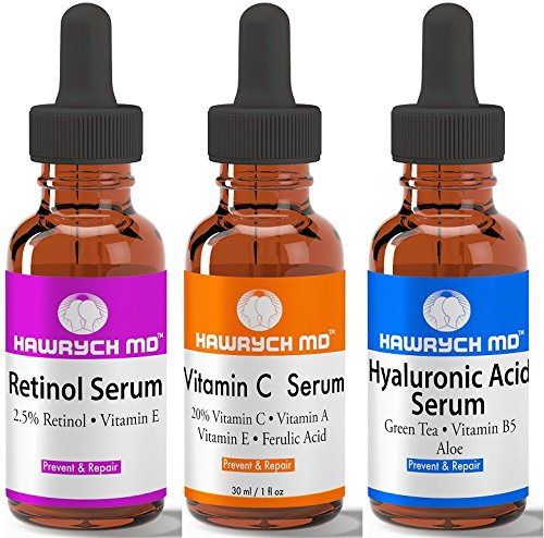 a69d85235c6 Amazon.com: HAWRYCH MD Vitamin C Retinol Hyaluronic Acid Serum Set The Best  Anti Aging Serums Diminish Lines Wrinkles and Hydrate Skin (1 oz each):  Beauty