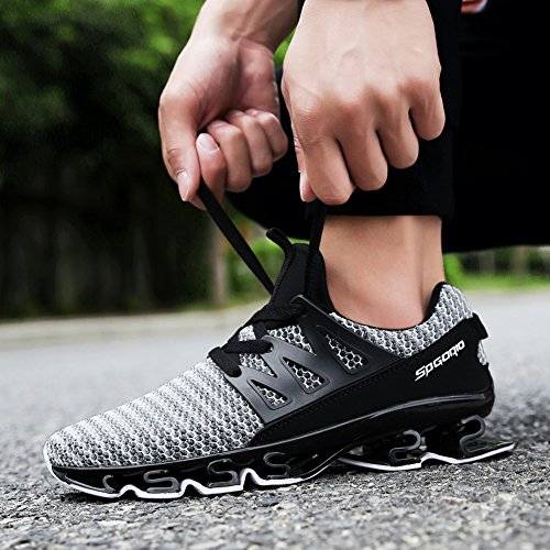Breathable Sneakers Walking Size Fashion Grey Mens Big Springblade GOMNEAR up Mesh Lace Athletic Shoes Running Casual 4tZ6q