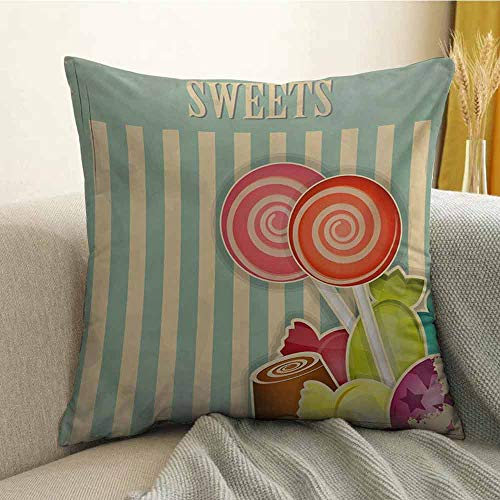 FreeKite Vintage Printed Custom Pillowcase Retro Old Candy Store Chocolates Lollipops with White Stripes on Baby Blue Backdrop Decorative Sofa Hug Pillowcase W24 x L24 Inch Multicolor