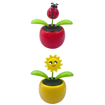 225 & LOVIVER 2pcs/set Solar Powered Dancing Swing Toy Flower Pot Solar Powered Toy Toys Car Home Decor