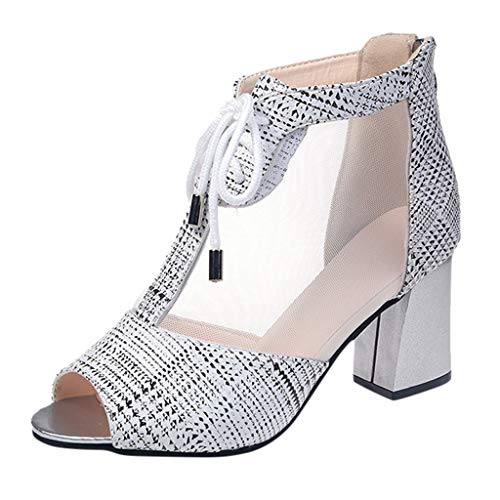 Copercn Women's Ladies Woven Plaid Grain Tulle Mesh Hollow Out Perspective Peep-Toe Y-Strap Back Zipper Mid Block Heel Lace-up Sandals Summer Fresh Elegant Bootie Daily Outing Get Together Shoes
