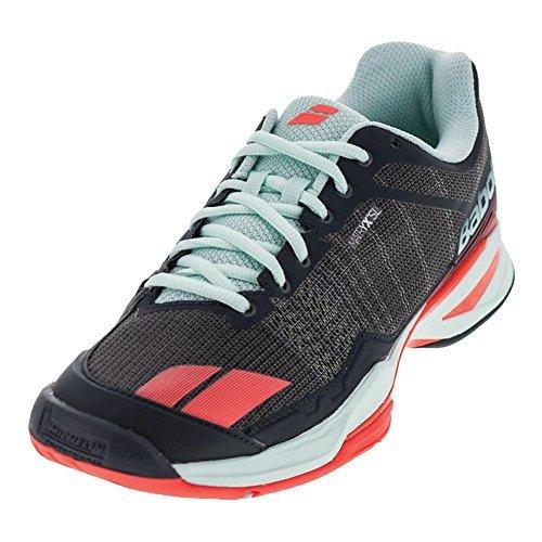 Babolat Women's jet team All Court tennis shoe, Grey/Red/Blue (7.0)
