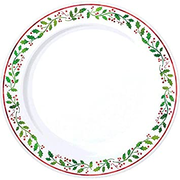 holly christmas plastic dessert plates reusable party tableware 20 pieces whitegreen - Christmas Plastic Plates
