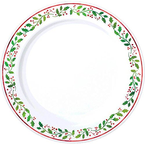White//Green 20 Pieces 7 1//2 amscan Holly Christmas Plastic Dessert Plates Reusable Party Tableware