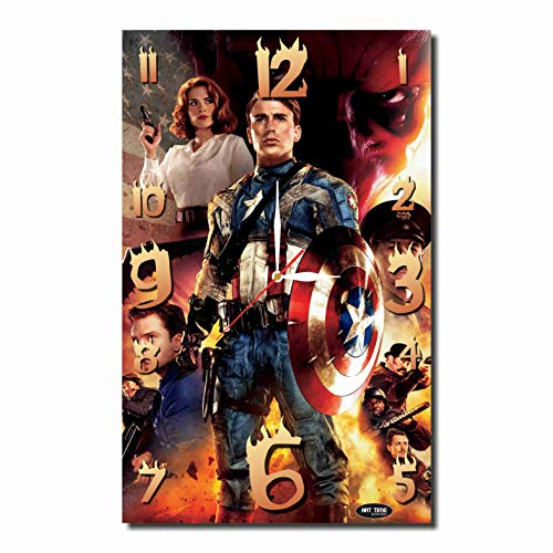 Art time production Captain America 17'' x 11'' Handmade Unique Wall Clock - Get Unique décor for Home or Office – Best Gift Ideas for Kids, Friends, Parents